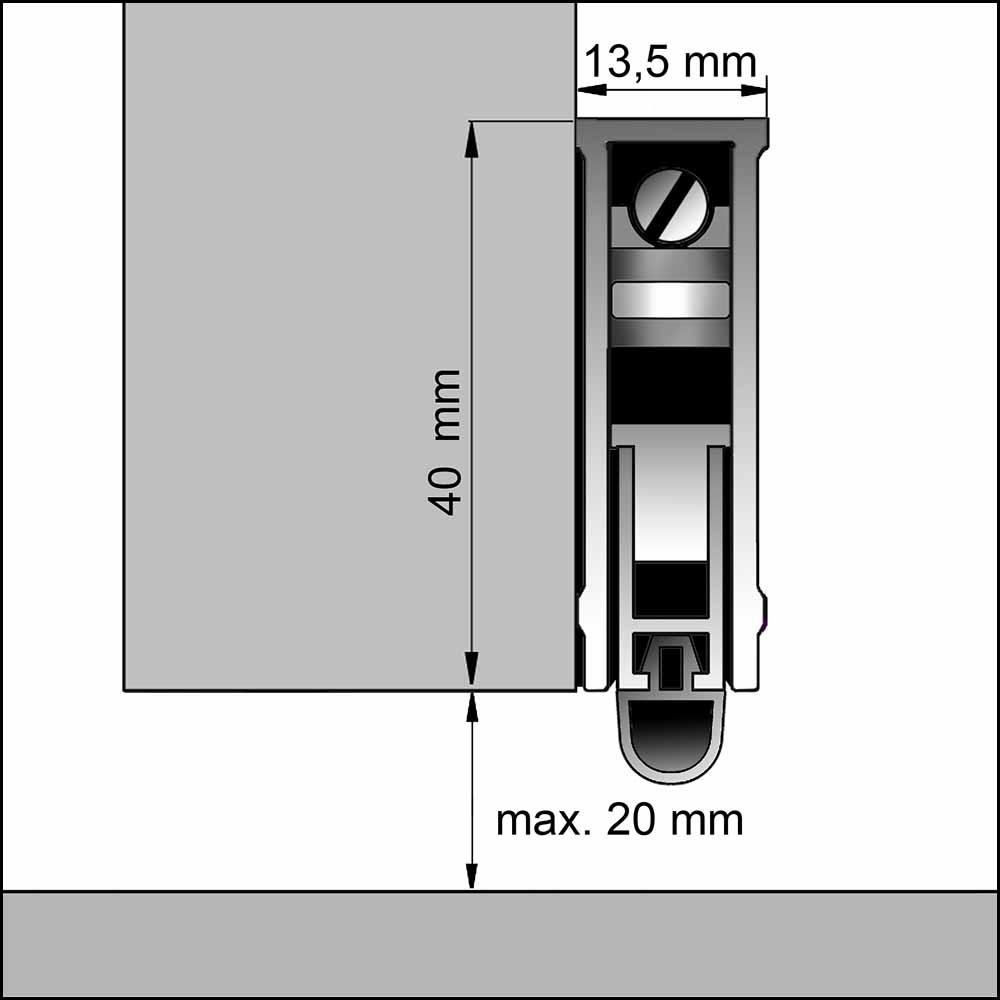 automatische absenkdichtung befestigung vor dem t rblatt dollex. Black Bedroom Furniture Sets. Home Design Ideas