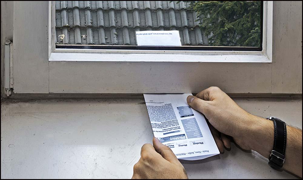 Zugluft ermitteln - Papiertest