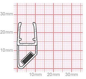 Dichtung Duschkabine   Mit Magnet   6-8 mm Glasstärke   019-24
