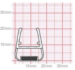 Dichtung Duschkabine mit Magnet   10-12 mm Glasstärke   019-27