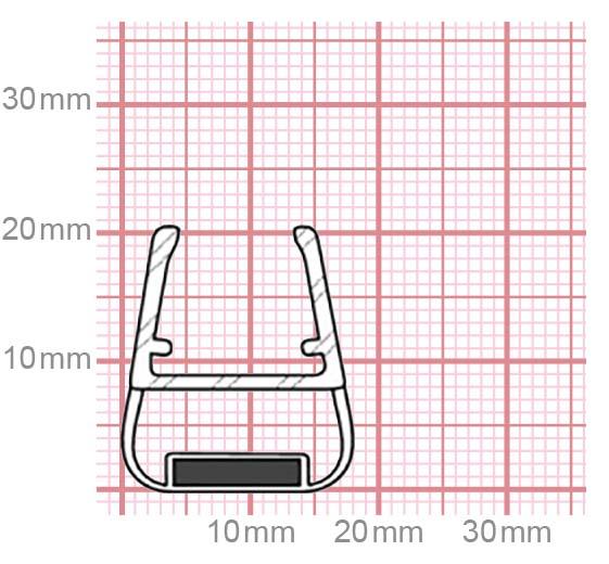 Dichtung Duschkabine mit Magnet | 10-12 mm Glasstärke | 019-27