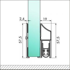 Cassette-Elegance an Glastür mit schutzplatte - Querschnitt