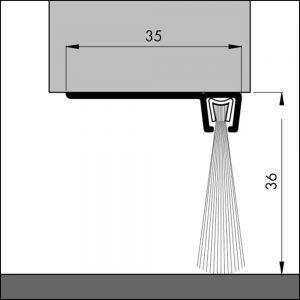 Bodendichtung für Garagentore, Winkelschiene   Dollex6 IBS 90-36