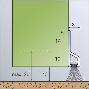 Transparente Türboden-Dichtung aus Kunststoff mit Bürste zum Abdichten.