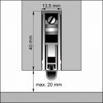 Zugluftblocker mit Absenkautomatik. Detail - Auslöseseite